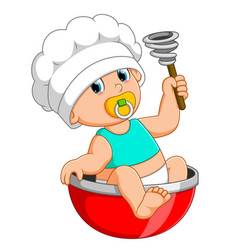 Baby chef is sitting on red bow vector
