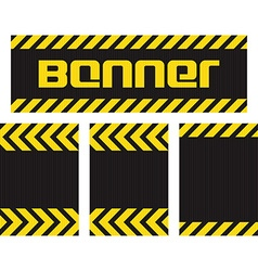 banner with horizontal yellow and black lines on vector image