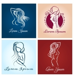 Beautiful woman abstract logo vector image
