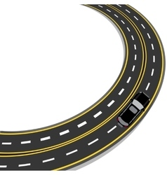 Bend in road with yellow and white markings vector