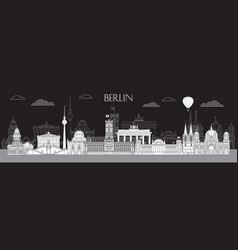 berlin skyline line art 4 vector image