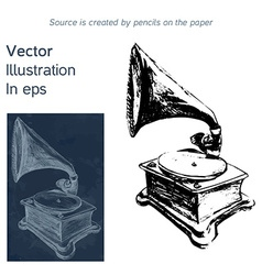Bright hand-drawn old gramophone in eps vector