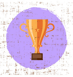 bronze cup trophy icon grunge retro design vector image