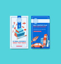 Business instagram design template with rocket vector