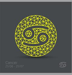 Cancer zodiac sign in circular frame vector