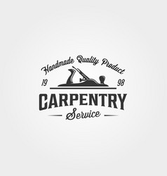 Carpentry wood plane logo vintage symbol design vector
