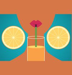 cartoon dark skinned girl drinking orange juice vector image