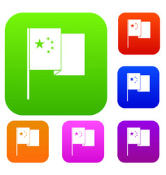 china flag set color collection vector image