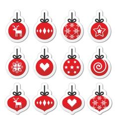 Christmas ball christmas bauble red icons vector