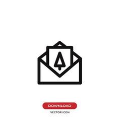 christmas card in envelope icon vector image