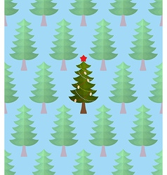 Christmas tree in forest Greeting card for vector image