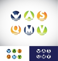 Circle sphere alphabet letter logo icon set vector image