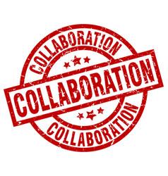 Collaboration round red grunge stamp vector