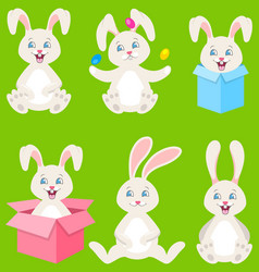 Collection happy easter bunnies with eggs gift vector