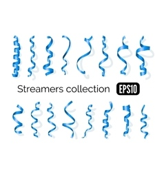 Collection of blue streamers and party ribbons vector image