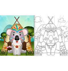 Coloring book for kids with a cute tribal boho vector