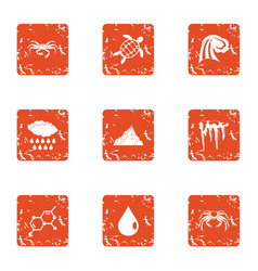Composition of the animal icons set grunge style vector