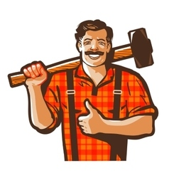 Construction worker logo workman laborer vector