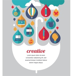 Creative umbrella - idea and design concept vector