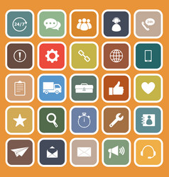 Customer service flat icons on orange background vector