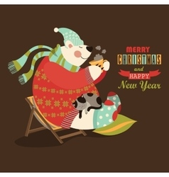 Cute bear celebrate Christmas vector