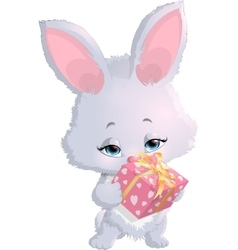 cute bunny holding a box with gifts vector image