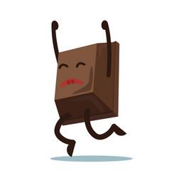 cute cartoon chocolate block jumping from vector image