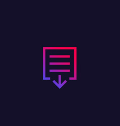 Document download icon vector