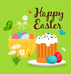 easter basket and cake greeting card vector image