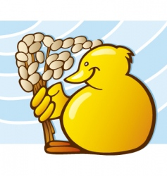 Easter chick with catkin vector