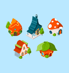 fairytale house isometric fantasy buildings for vector image