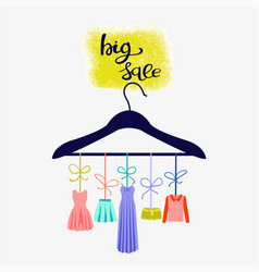 fashion boutique big sales hand-drawn lettering vector image