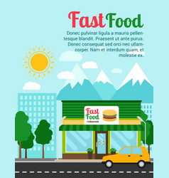 fast food restaurant advertising banner vector image