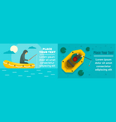Fishing inflatable boat banner set flat style vector