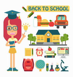 Flat design back to school concepts vector