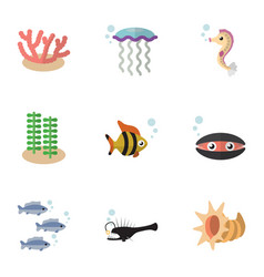 Flat icon marine set of tuna algae fish and vector