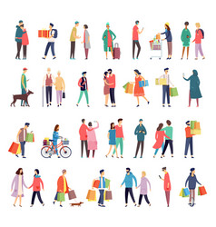 flat icons people daily activity and shopping vector image