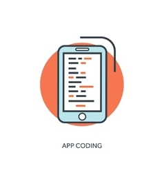 Flat lined document with app code Coding and vector image