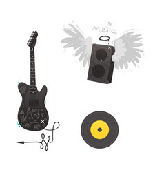 flat music symbol vinyl guitar loudspeaker vector image