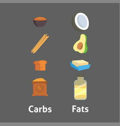Food carbs isolated healthy fats ingredient bread vector