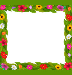 frame design with colorful flowers vector image