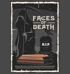 Funeral service death at cemetery tomb vector