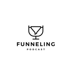 funneling podcast logo icon for marketing blog vector image