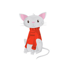 Funny cat in warm red sweater kitten with cute vector