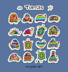 funny turtles collection sketch for your design vector image vector image