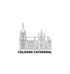 Germany cologne cathedral line travel skyline set vector