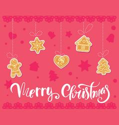 gingerbread cookies christmas set vector image