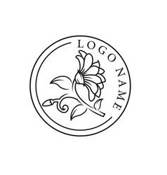 graphical flower logo black flower contour vector image