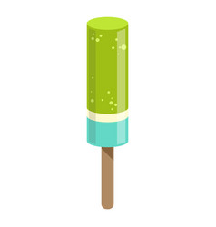 Green and blue ice-cream bar on a stick colorful vector