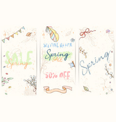 hand drawn spring card vector image